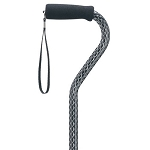 Black Scallop Offset Walking Cane with Wrist Strap