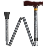Black Marble Folding Walking Cane