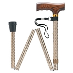 Scallop Design in Folding Walking Cane - Brown