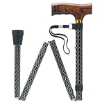 Scallop Design in Folding Walking Cane - Black