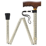 Scallop Design in Folding Walking Cane - Gold