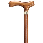 Scorched Wood Fritz Walking Cane with Brass Band