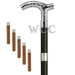 Chrome Embossed Derby Brandy Flask Walking Cane
