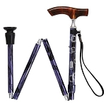 Lucite Fritz Folding Walking Cane - Purple