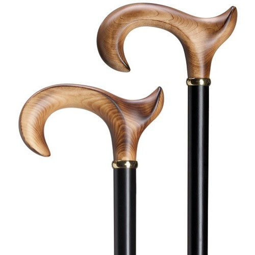 Ladies Anatomical Handle Walking Cane - Scorched Maple